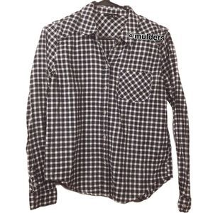 Paige Plaid Checkered Black & White Button Up